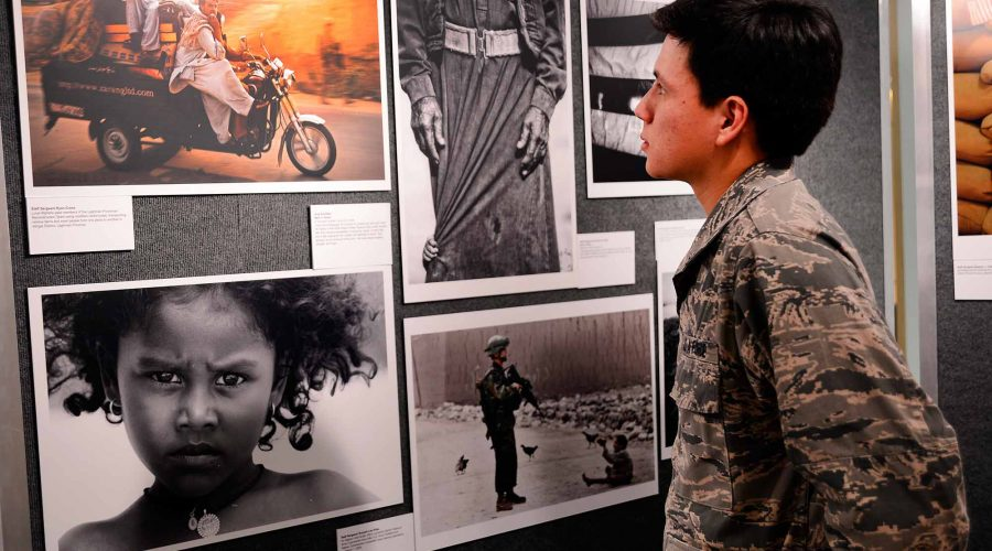 cadet-viewing-exhibit-in-gallery