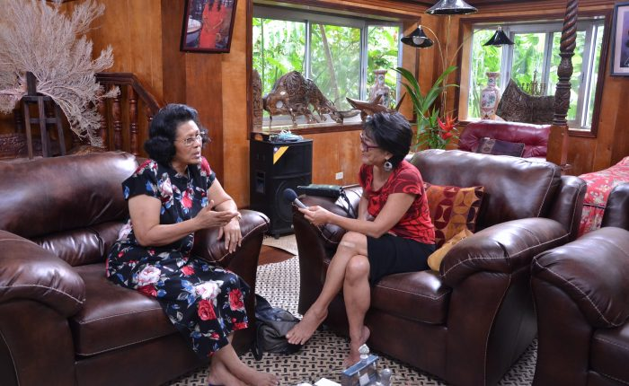 Noe Tanigawa (right) interviews Bilung Gloria Salii. Also called Queen Bilung, she is the highest ranking woman in Koror.