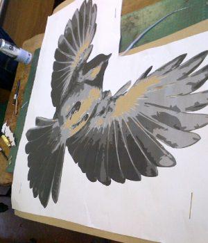 Transformations stencil of a bird