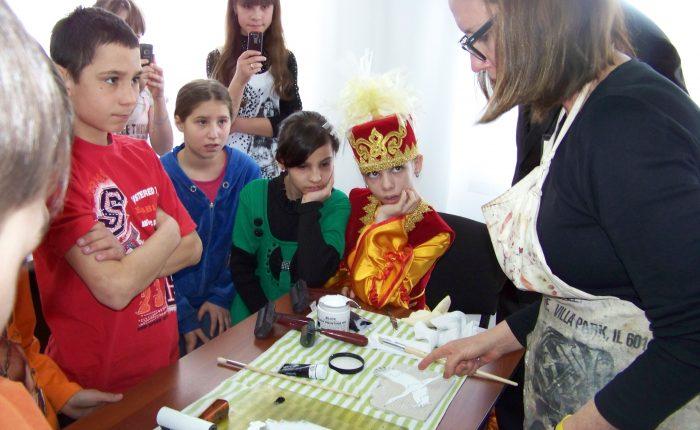 Sharon Cosgrove teaching at Kostanay Orphanage