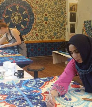 Ambreen Butt working on commissioned art for U.S. Embassy Islamabad