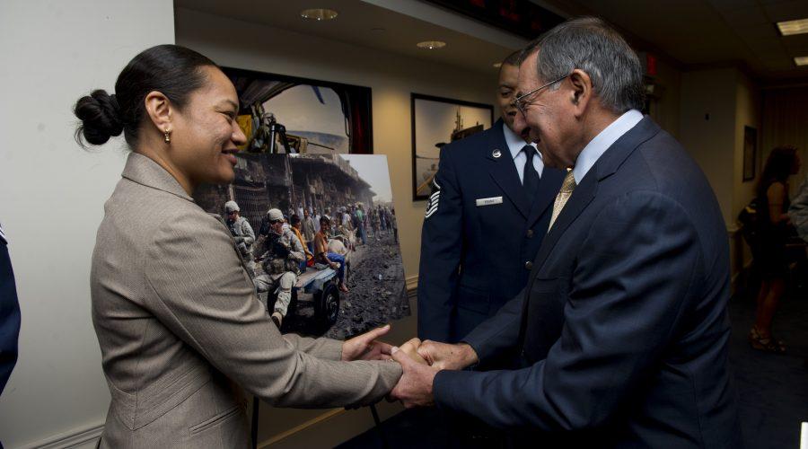Secretary of Defense Leon Panetta with awardee