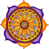 Chris Flisher, 12-Point Lotus, 2004, Watercolor, pen and ink, Courtesy of the artist, Boxborough, Massachusetts