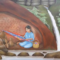 Athena Magcase-Lopez, Weaver in a Cave, 2007, Oil on canvas, Courtesy of the artist, Morris Plains, New Jersey