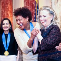 Carrie Mae Weems being honored by Secretary of State Hillary Clinton