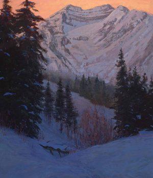 Steven Lee Adams, Winter Evening, Timpanogos, Oil on canvas, Lent by the artist, Alpine, Utah, courtesy of Mary Williams Fine Arts, Boulder, Colorado