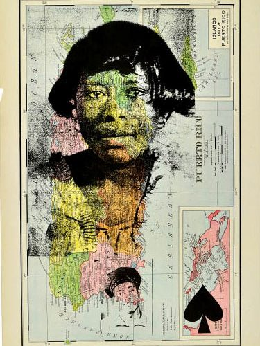 Mildred Howard, Island People on Blue Mountain IV, 2012, Color monoprint with collage