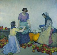Myron G. Barlow, Apples, oil on canvas, image:  59 3/8 x 59 1/4 in.  (150.8 x 150.5 cm); framed:  67 x 67 x 3 3/8 in.  (170.2 x 170.2 x 8.6 cm), Courtesy of The Detroit Institute of Arts; Gift of Mr. and Mrs. Bernard F. in memory of Jacob and Rosalie Siegel