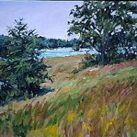 J. Thomas R. Higgins, Cove Sliver, Deer Isle, oil on linen, 20 x 24 in.  (50.8 x 61.0 cm), Courtesy of the artist, Readfield, Maine