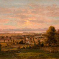 George F. Higgins, Lake Winnipesaukee, Oil on canvas, framed:  29.75 x 45.75 in. (75.6 x 116.2 cm); image:  24 x 40 in.  (61.0 x 101.6 cm),  Courtesy of John J. and Joan R. Henderson, Center Harbor, New Hampshire