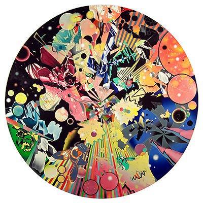 Peter Gerakaris, Splinternet /La Fantasia Tondo, 2009, Oil on Canvas over polymer ground,