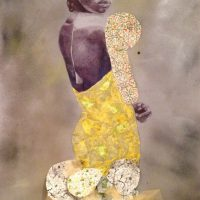 Jamea Richmond Edwards, It Could Be A Sad Story, Mixed media: ink, acrylic, graphite, rhinestones, collaged paper on Mylar, Overall: 89 x 36in. (226.1 x 91.4cm),
